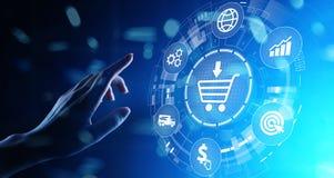 Электронная коммерция, онлайн прерывая концепция дела интернета на виртуальном экране стоковые изображения