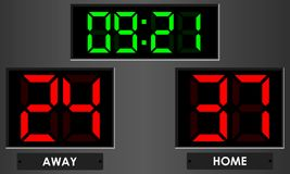 Электронное табло с временем и домом счета, прочь Стоковое Изображение RF