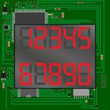 электронные диаграммы красные Шкала на предпосылке микросхемы Номер - 1, 2, 3, 4, 5, 6, 7, 8, 9, 0 вектор Стоковая Фотография RF