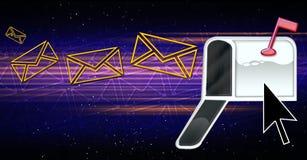 электронные почты виртуального пространства иллюстрация вектора