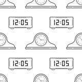 Электронные часы вахты и каминной доски Черно-белая безшовная картина для книжка-раскрасок, страниц Стоковая Фотография