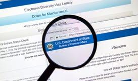 Электронный вебсайт должностного лица лотереи визы разнообразия стоковое фото