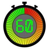электронный секундомер при шкала градиента начиная с красным цветом 60 иллюстрация штока