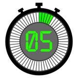 электронный секундомер с шкалой градиента от зеленого цвета 5 секунд иллюстрация вектора