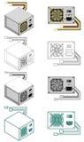 электропитание компьютера коробки Стоковые Изображения
