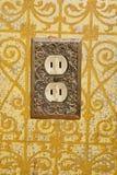 Электророзетка установленная в декоративную стену Стоковое Изображение