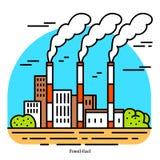 Электростанция ископаемого горючего Термальная станция электростанции или генерации Значок промышленного построения Уголь, природ иллюстрация вектора