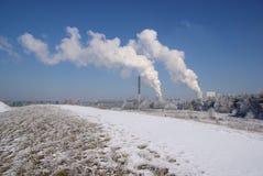 Электростанция Boxberg в зиме Стоковые Изображения
