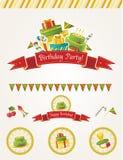Элементы вектора вечеринки по случаю дня рождения Иллюстрация вектора
