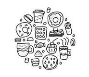 Элементы вектора десерта установленные в стиле doodle иллюстрация штока