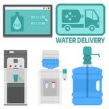 Элементы вектора поставки воды выпивают обслуживание предприятий контейнера бутылки пластичное голубое иллюстрация штока