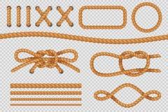 Элементы веревочки Морские границы шнура, морские веревочки с узлом, старой плавая петлей вектор комплекта сердец шаржа приполюсн иллюстрация вектора