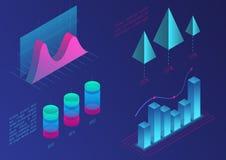 Элементы диаграммы вектора Infographic равновеликие Диаграммы данных и диаграмм дела финансовые Данные по статистики Цвет градиен иллюстрация вектора