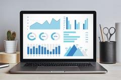Элементы диаграмм и диаграмм на экране компьтер-книжки на современном столе Стоковое фото RF