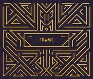Элементы дизайна вензеля вектора в ультрамодном годе сбора винограда и mono линии стиле с космосом для текста - абстрактное золот иллюстрация вектора