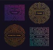 Элементы дизайна вензеля вектора в ультрамодном годе сбора винограда и mono линии стиле с космосом для текста - абстрактное золот бесплатная иллюстрация
