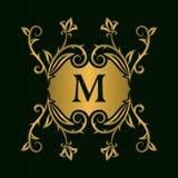 Элементы дизайна вензеля золота, грациозно шаблон Каллиграфическая элегантная линия логотип искусства Пометьте буквами идентичнос иллюстрация штока