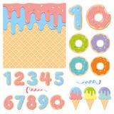 Элементы дизайна дня рождения сладкие стоковые фото