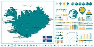 Элементы дизайна карты и Infographics Исландии На белизне Стоковое фото RF