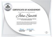 Элементы дизайна официального белого certificatewith белые серые Дизайн дела чистый современный, серебряная эмблема Стоковая Фотография RF