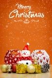 Элементы, игрушки и подарочные коробки украшения рождества Стоковые Изображения RF