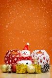 Элементы, игрушки и подарочные коробки украшения рождества Стоковая Фотография