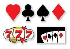 элементы конструкции казино карточек играя вектор иллюстрация вектора