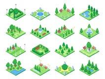 Элементы леса природы, символ заводов и зеленые деревья для игры города 3d равновеликой составляют карту Изолированные значки век иллюстрация вектора