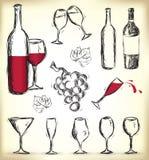 элементы нарисованные конструкцией вручают вино Стоковые Изображения RF