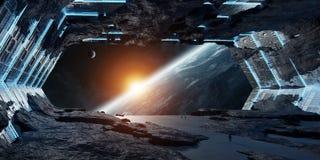 Элементы перевода 3D огромного астероидного космического корабля внутренние этого I иллюстрация вектора