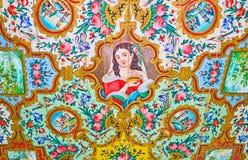 Элементы покрашенных оформлений дома Qavam, Шираза, Ирана Стоковая Фотография RF