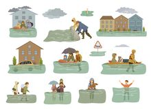 Элементы потока infographic затопленные дома, город, автомобиль, люди избегают от паводковых вод выходя дома, дома, anima семей с иллюстрация вектора