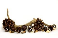 Элементы природы и предпосылка белизны рамки шариков рождества золота Стоковые Изображения
