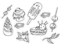 Элементы расцветки зимы с вкусными тортами иллюстрация вектора