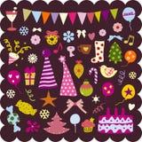 элементы рождества милые Стоковые Изображения
