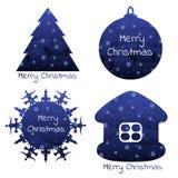 Элементы рождества с предпосылкой зимы внутрь Стоковая Фотография RF