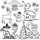 Элементы рождества, черные силуэты иллюстрация вектора