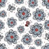 Элементы серого цвета голубого красного цвета цветков и бабочек Стоковое фото RF