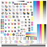 Элементы управления цвета CMYK Опубликовывая общие назначения графического символа Метка прессы Тарировка, вырезывание отметит 10 иллюстрация вектора