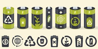 Элементы цилиндра батареи вектора установленные иконы eco иллюстрация штока
