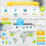 Элементы шаблон, иконы, слайдер, знамя и кнопки сети. Вектор