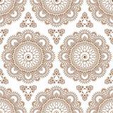 Элементы шнурка безшовного mehndi мандалы картины хны коричневого флористические деталей украшения buta на белой предпосылке иллюстрация вектора