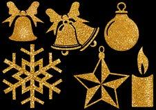Элементы яркого блеска рождества на черной предпосылке стоковые фото