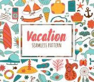 Элементы doodle летних каникулов установленные, безшовная картина Стоковое Фото