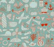 Элементы doodle летних каникулов установленные, безшовная картина Стоковые Изображения