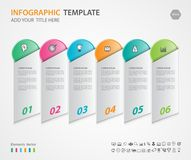 Элементы Infographics diagram с 6 шагами, вариантами, иллюстрацией вектора, прямоугольным 3d значком, представление Стоковая Фотография RF
