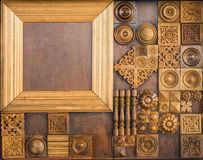 Элемент декоративного woodcarving, классического деревянного eleme оформления Стоковые Фото