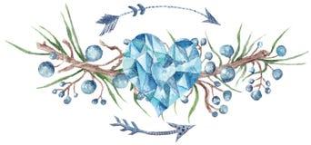 Элемент дизайна венка леса свежей племенной виньетки дикий стоковая фотография rf