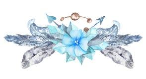 Элемент дизайна венка леса свежей племенной виньетки дикий стоковые фотографии rf