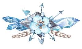 Элемент дизайна венка леса свежей племенной виньетки дикий стоковое изображение rf